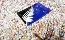 Silver Fern: Black, White and Blue flag