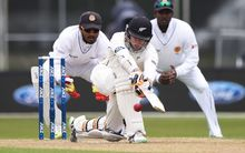 Tom Latham in action on day three of the first cricket Test against Sri Lanka at University Oval, Dunedin, New Zealand. Saturday 12 December 2015. Copyright photo: Andrew Cornaga / www.photosport.nz
