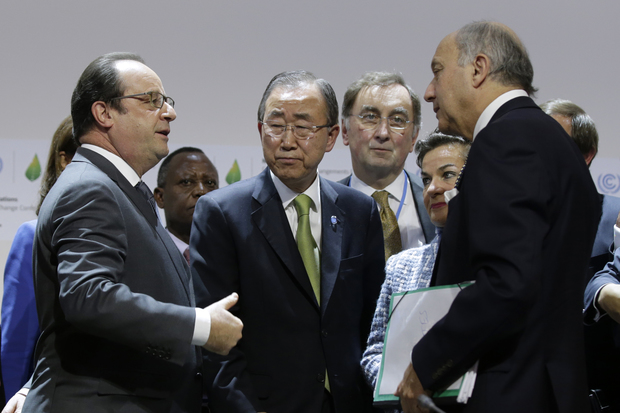 Left to right: French president Francois Hollande, UN secretary-general Ban Ki-moon, UNCCC executive secretary Christiana Figueres and French foreign affairs minister Laurent Fabius