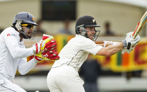 Kane Williamson batting during the first test against Sri Lanka in Dunedin.