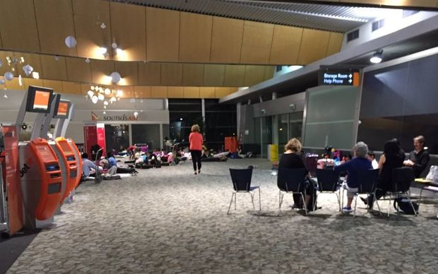 A group from an Auckland primary school prepare to spend the night at Wellington Airport.