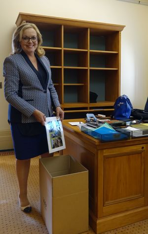 Incoming Cabinet Minister Judith Collins packs up her office in preparation for the shift back to the Beehive.