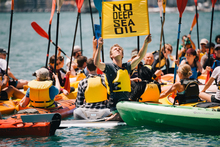 People took to the water in Wellington to protest against deep sea oil drilling