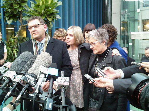 Bryan Guy, Anna Macdonald and Joanne Guy outside court.