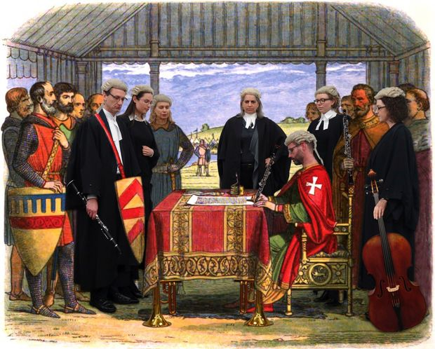 Crown Counsel lawyers mockup of the signing of the Magna Carta