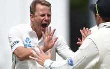 Black Caps bowler Neil Wagner celebrates taking the wicket of Sri Lankan captain Angelo Matthews.