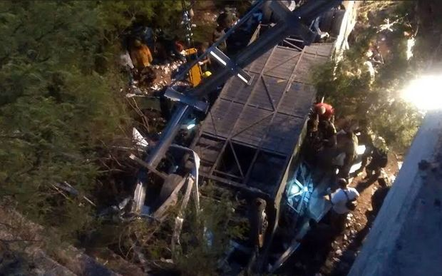 At least 41 police officers died and several more were injured when their bus drove off a bridge.