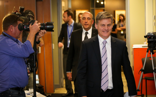 From right, Finance Minister Bill English and Secretary to the Treasury Gabriel Makhlouf preparing to release the Half Year Economic and Fiscal Update.