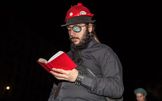 An adherant of the Church of the Flying Spaghetti Monster in Italy. The self-proclaimed religion is pro-individual rights and its members often dress as pirates during demonstrations.