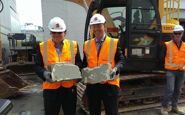 SkyCity Entertainment Chief Executive Nigel Morrison, left, with Fletcher Building Chief Executive Mark Adamson at a ceremony to mark the start of construction of the New Zealand International Convention Centre and hotel, across from the Auckland Casino and Sky Tower on Hobson Street.