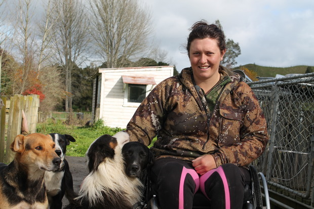 Photo of King Country shepherd, Anita Kendrick and her dogs.