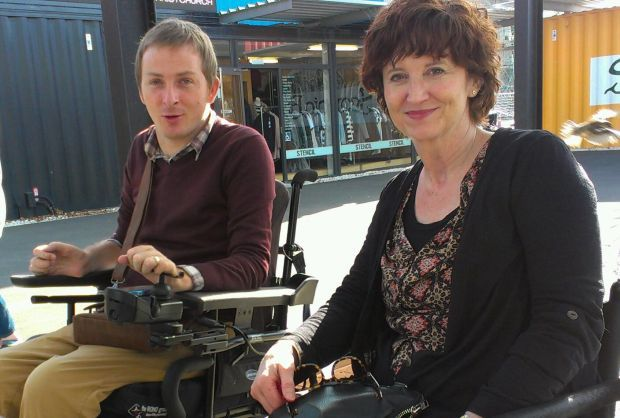 Photo of Johnny Bourke and a research participant, Marie, in Christchurch's Restart Mall.