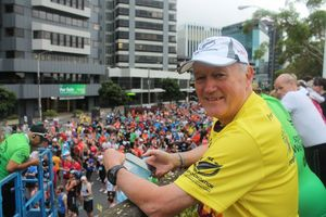 A photo of Achilles New Zealand Founder, Peter Loft at Wellington's Around the Bays event.