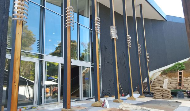 The new Waitangi museum with exterior art work by Carin Wilson