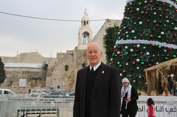 Brother Peter Bray in Manger Square, Bethlehem