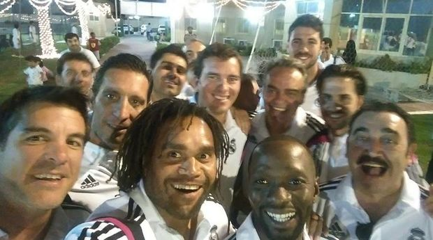 Former France and Real Madrid Christian Karembeu takes a selfie with some ex teammates in New Caledonia.