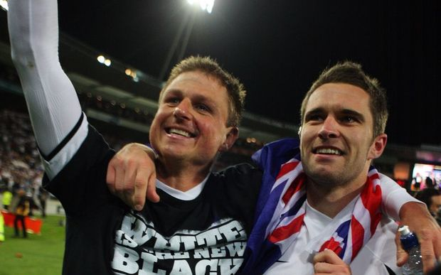All Whites Ben Sigmund and Tim Brown after the 2009 win over Bahrain