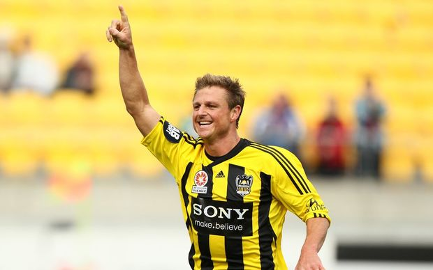Wellington Phoenix defender Ben Sigmund celebrates Andrew Durante's goal against Gold Coast United at Westpac Stadium, Wellington, Sunday 4 March 2012. Photo: Justin Arthur / Photosport.co.nz
