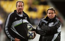 Former All Blacks skills coach Mick Byrne with then-forwards coach Steve Hansen back in 2009 at a Tri-Nations game against Australia at Westpac Stadium, Wellington. Photo: Dave Lintott/PHOTOSPORT