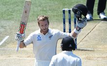 Kane Williamson celebrates his 13th test century.