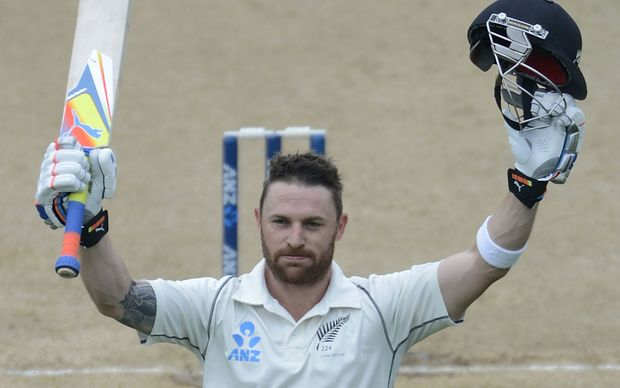 Brendon McCullum celebrates 300 runs during day 5 of the 2nd International Test cricket match between New Zealand and India in Wellington at the Basin Reserve on February 18, 2014.