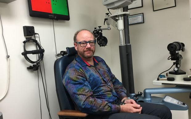 Optometrist Andrew Sangster in his practice.