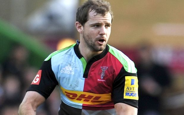 Nick Evans of Harlequins in action against the Exeter Chiefs at Twickenham Stoop, 2015.