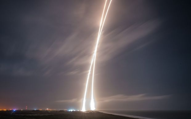 The first-stage successful upright landing of the SpaceX Falcon 9 rocket on Monday, December 21, 2015 at Cape Canaveral.