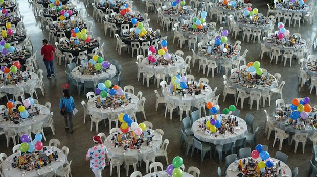 Tables set up ready to go at the Auckland City Mission Christmas lunch.