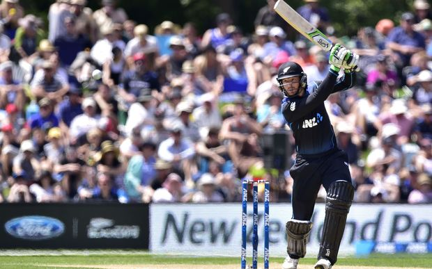 Martin Guptill plays a shot during the first one-day international cricket match between New Zealand and Sri Lanka at Hagley Park in Christchurch.