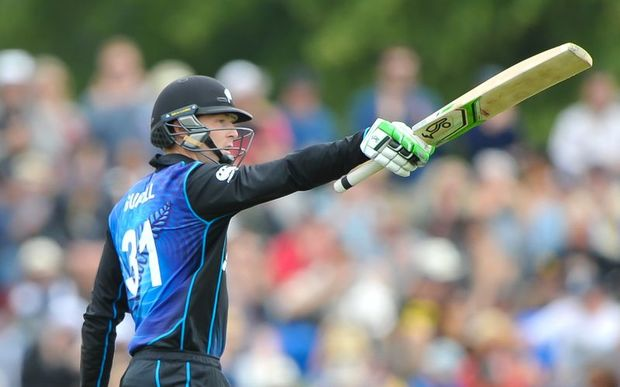 Black Caps batsman Martin Guptill celebrates his NZ record 50 during the 2nd ODI vs Sri Lanka, Hagley Oval, Christchurch. 28th December 2015. Copyright Photo: John Davidson / www.photosport.nz