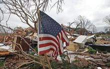 Debris following tornadoes on 28 Dec in Garland, Texas.