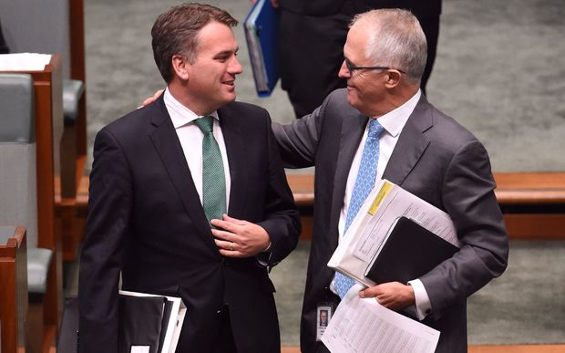 Jamie Briggs, left, and Malcolm Turnbull in February.