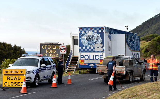 Police block the Great Ocean Road through to Apollo Bay in Lorne.
