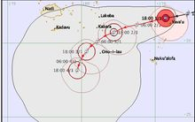 Predicted track of Cyclone Ula.  Tonga to Fiji.