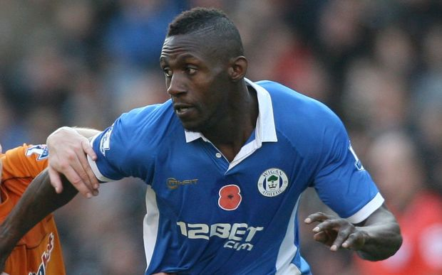 Steve Gohouri playing for Wigan in the Premier League, 2011.