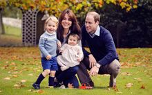 Britain's Prince William, Catherine, Duchess of Cambridge and their two children Prince George and Princess Charlotte in a photograph taken in late October.