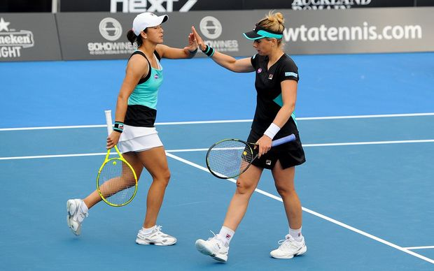 Marina Erakovic and Silvia Soler-Espinosa during a doubles match at the 2016 ASB Classic, Auckland. Monday 4 January 2016. Copyright Photo: Chris Symes / www.photosport.nz