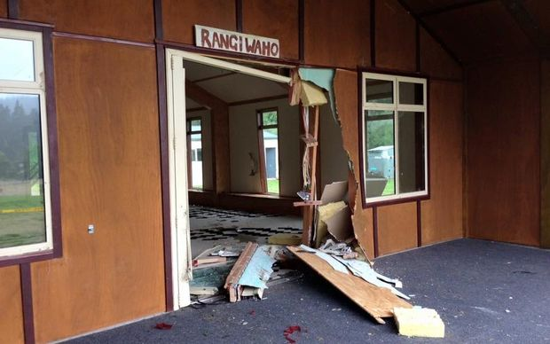 The new Marae was left heavily damaged.