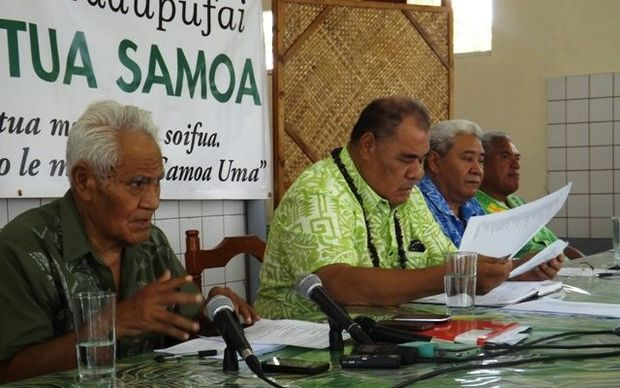Tautua Samoa party MPs at a press conference.