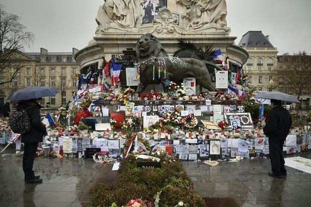 A make-shift memorial erected to honour the victims of the January2015 attacks in Paris.