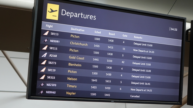 Dozens of flights out of Wellington have been delayed.