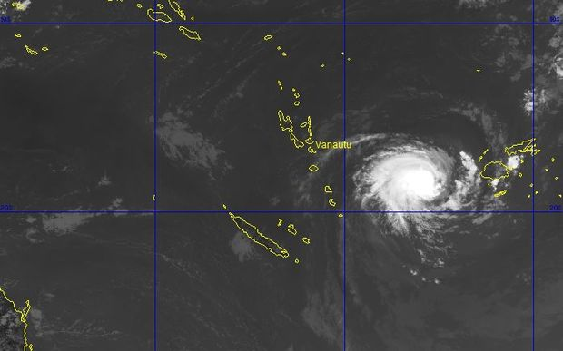 A satellite picture of Cyclone Ula, currently a category two, as it headed towards Vanuatu on Friday afternoon.