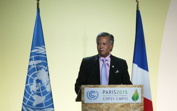 Cook Islands Prime Minister Henry Puna speaks at the COP21 climate change summit in Paris.