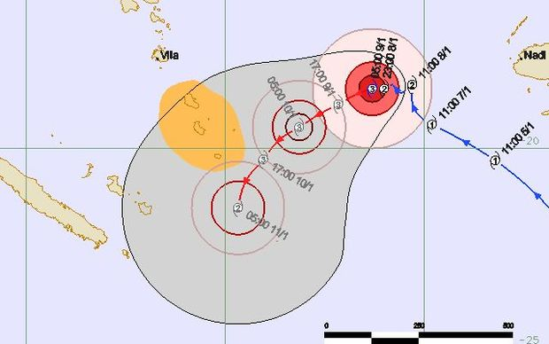 A map forecasting the path Cyclone Ula is likely to take. Tafea province, which includes Tanna, is shaded yellow.