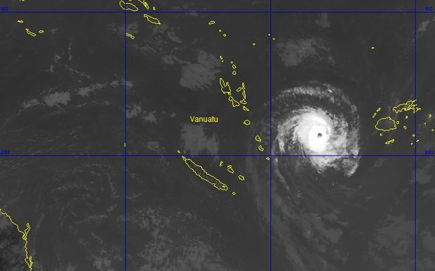 A satellite image of Tropical Cyclone Ula as it nears Vanuatu on Saturday.
