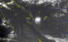 A satellite image of cyclone Ula, to the east of Vanuatu, taken on Saturday.