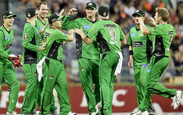 Melbourne Stars players celebrate a wicket during the T20 Big Bash League.