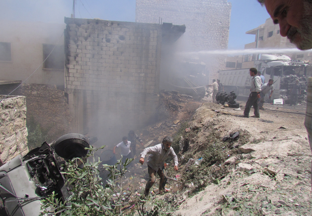 Maarat Al-Numan has also been damaged by air strikes by government forces with this picture taken on 15 May 2014.