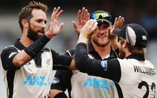 Grant Elliott celebrates with Kane Williamson and Corey Anderson, January, 2016.